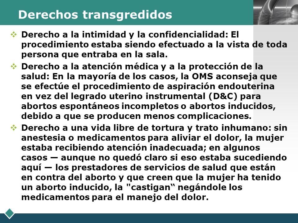 Derechos transgredidos