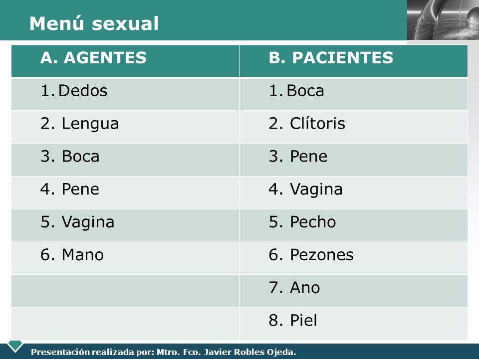 Menú sexual A. AGENTES B. PACIENTES Dedos Boca 2. Lengua 2. Clítoris
