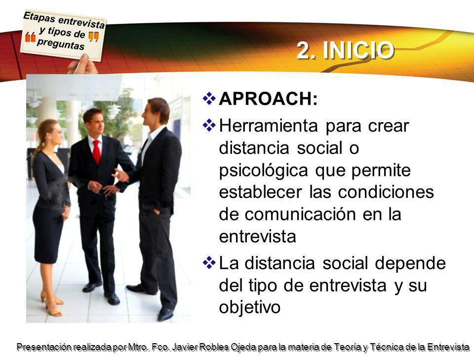 2. INICIO APROACH: Herramienta para crear distancia social o psicológica que permite establecer las condiciones de comunicación en la entrevista.