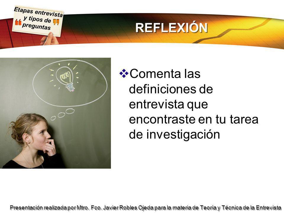 REFLEXIÓN Comenta las definiciones de entrevista que encontraste en tu tarea de investigación