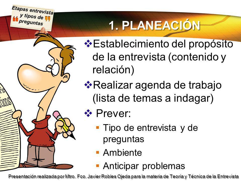 1. PLANEACIÓN Establecimiento del propósito de la entrevista (contenido y relación) Realizar agenda de trabajo (lista de temas a indagar)
