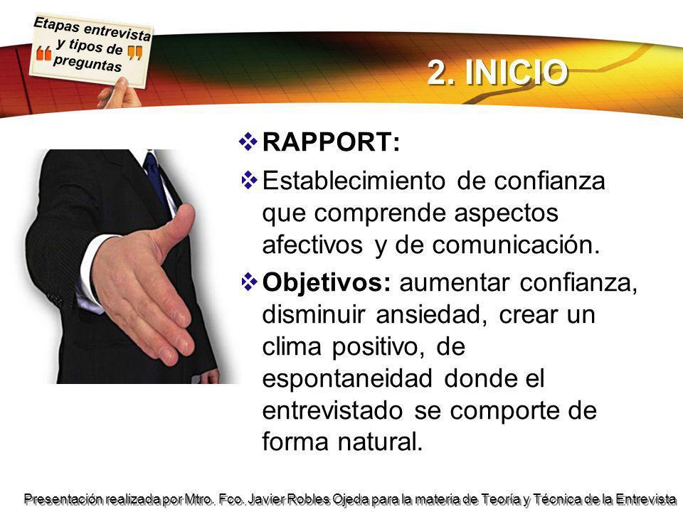 2. INICIO RAPPORT: Establecimiento de confianza que comprende aspectos afectivos y de comunicación.