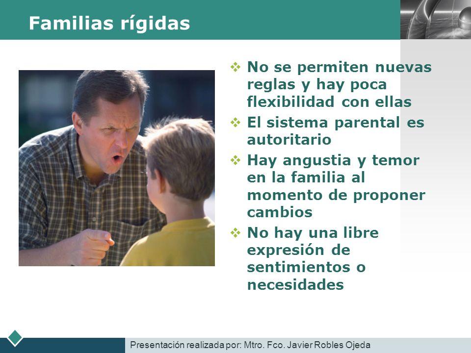 Familias rígidas No se permiten nuevas reglas y hay poca flexibilidad con ellas. El sistema parental es autoritario.