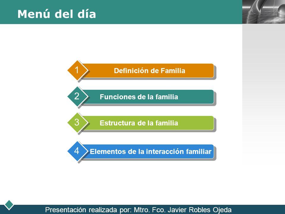 Menú del día 1 2 3 4 Definición de Familia Funciones de la familia