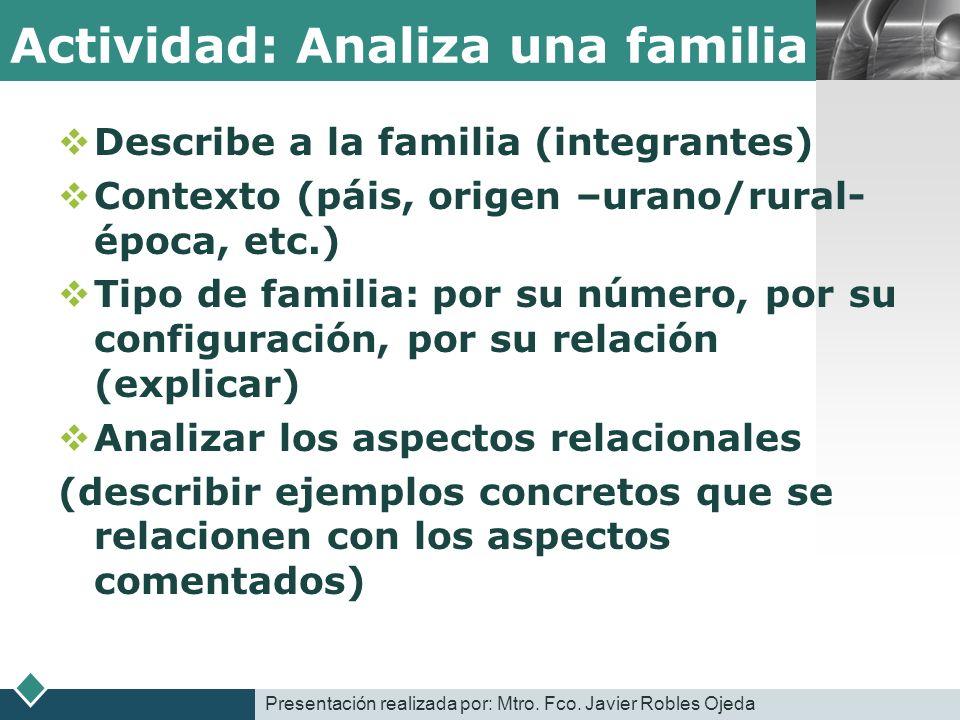 Actividad: Analiza una familia