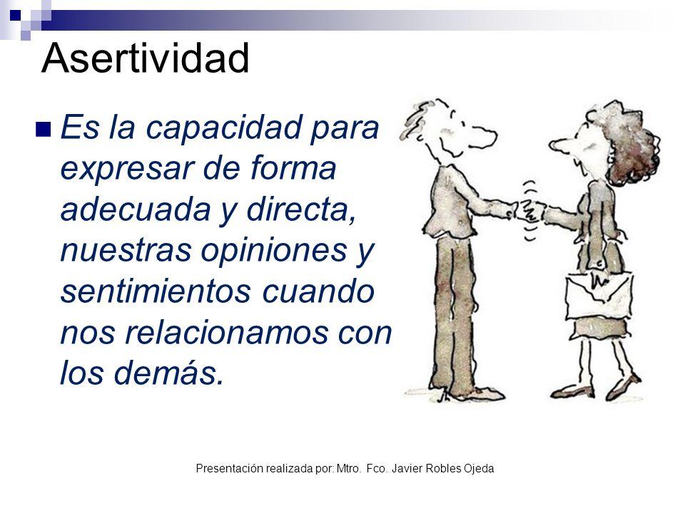 Asertividad Es la capacidad para expresar de forma adecuada y directa, nuestras opiniones y sentimientos cuando nos relacionamos con los demás.