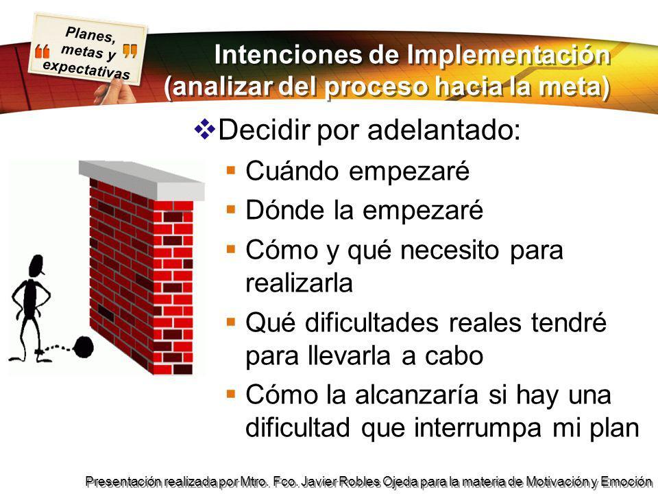 Intenciones de Implementación (analizar del proceso hacia la meta)