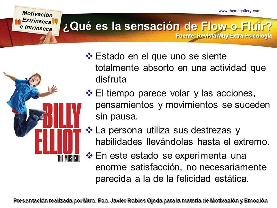 www.themegallery.com ¿Qué es la sensación de Flow o Fluir Fuente: Revista Muy Extra Psicología.