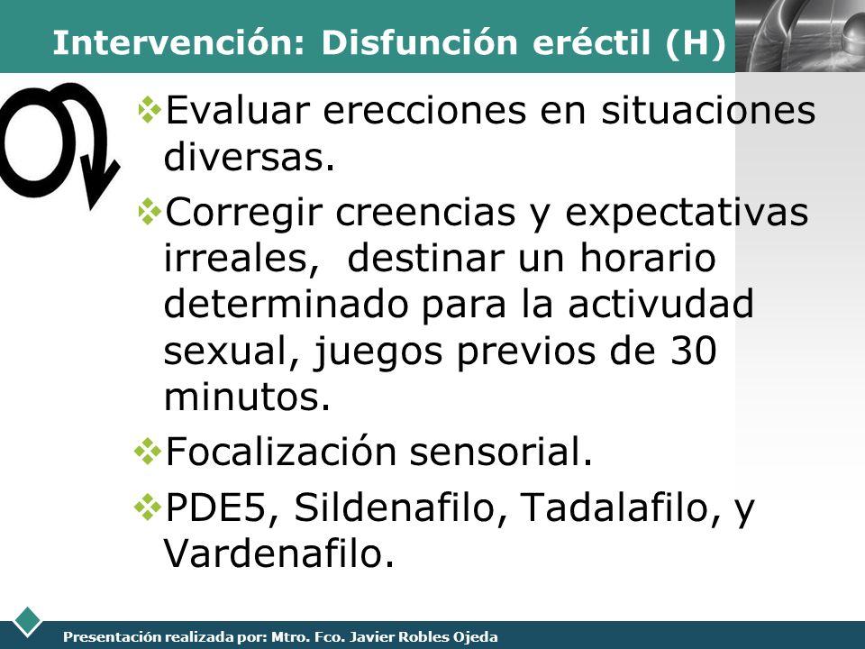 Intervención: Disfunción eréctil (H)