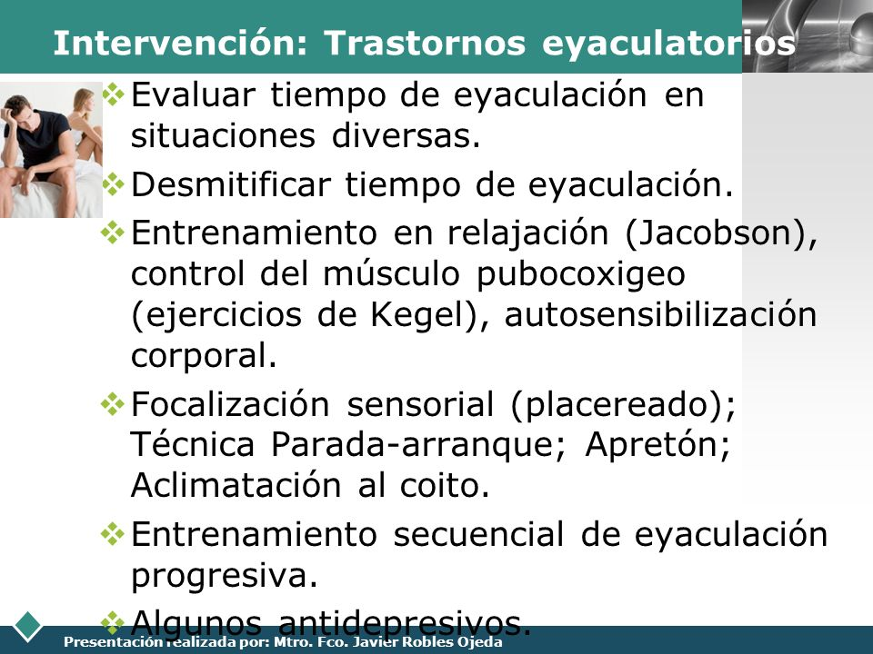 Intervención: Trastornos eyaculatorios