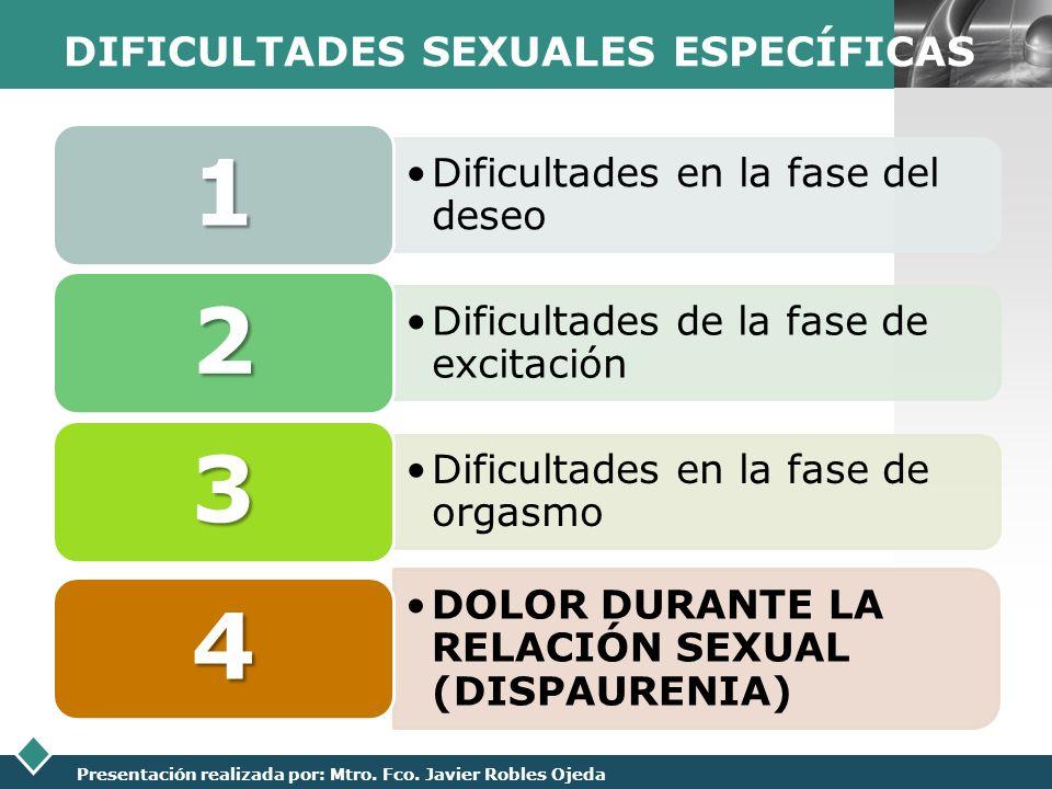 DIFICULTADES SEXUALES ESPECÍFICAS