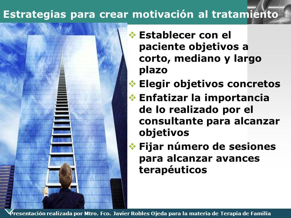 Estrategias para crear motivación al tratamiento