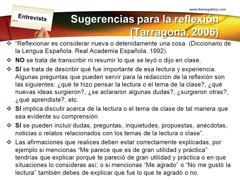 Sugerencias para la reflexión (Tarragona, 2006)