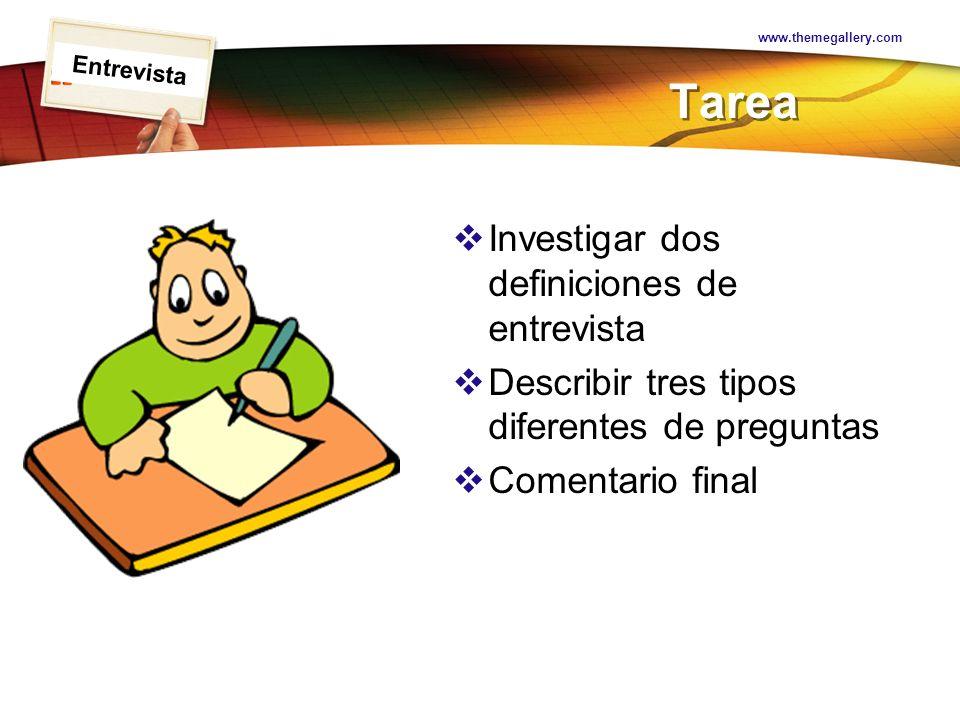Tarea Investigar dos definiciones de entrevista