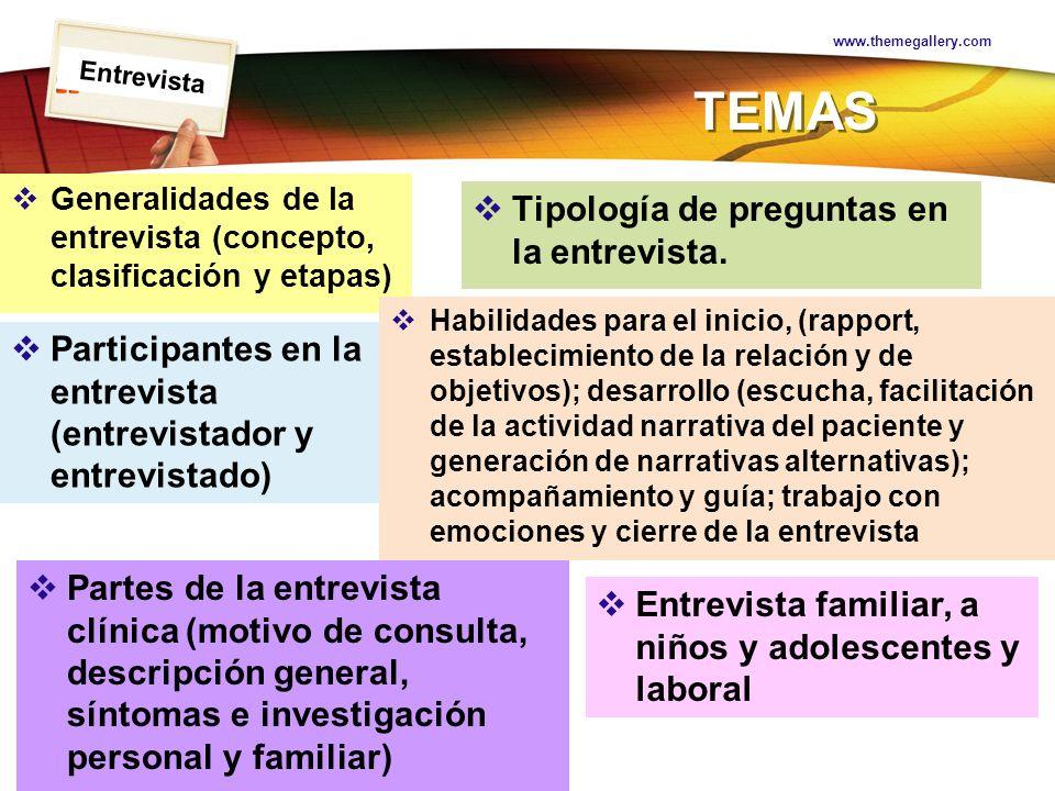 TEMAS Tipología de preguntas en la entrevista.