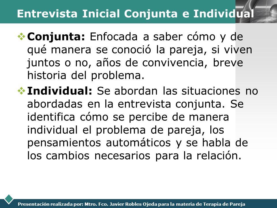 Entrevista Inicial Conjunta e Individual