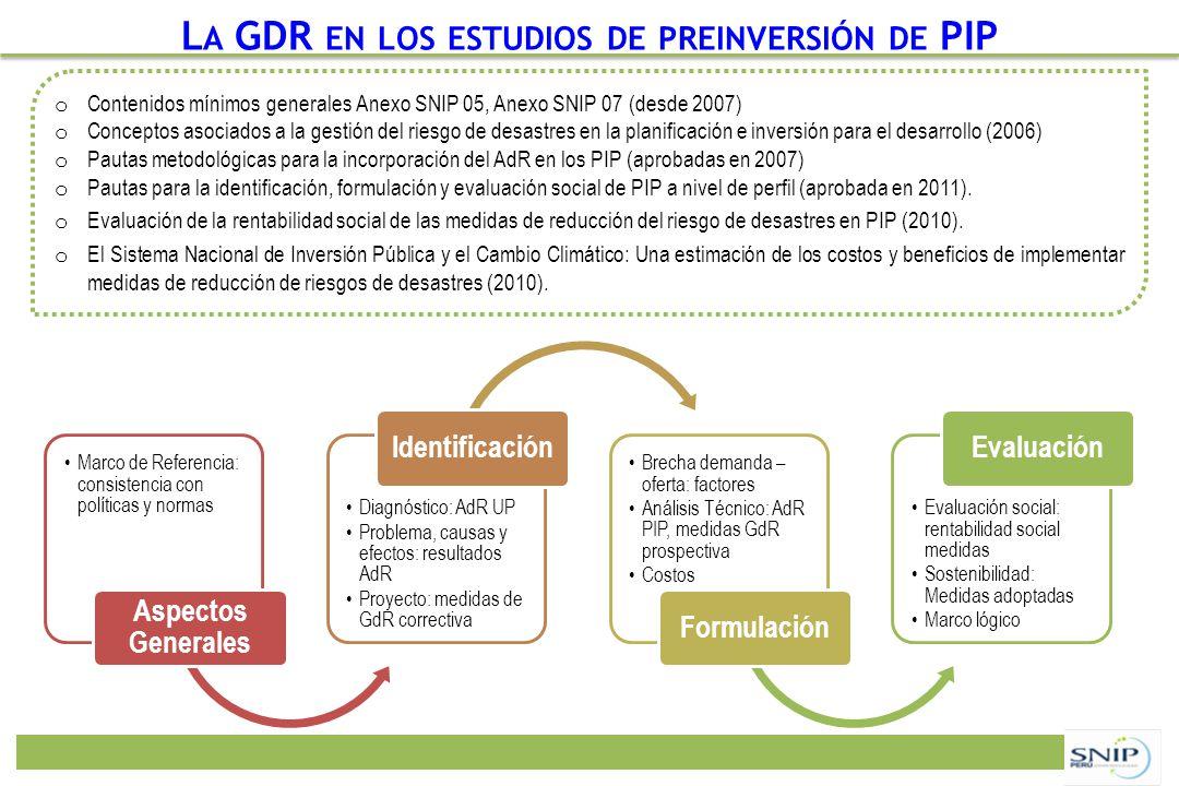 La GDR en los estudios de preinversión de PIP