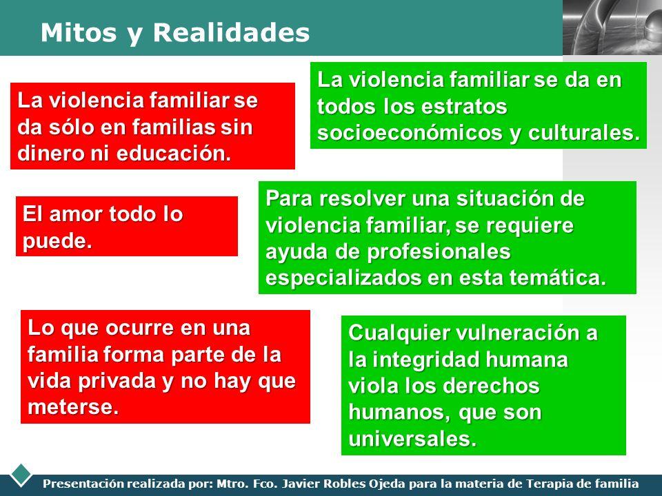 Mitos y Realidades La violencia familiar se da en todos los estratos socioeconómicos y culturales.