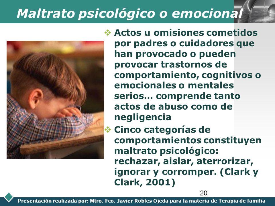 Maltrato psicológico o emocional