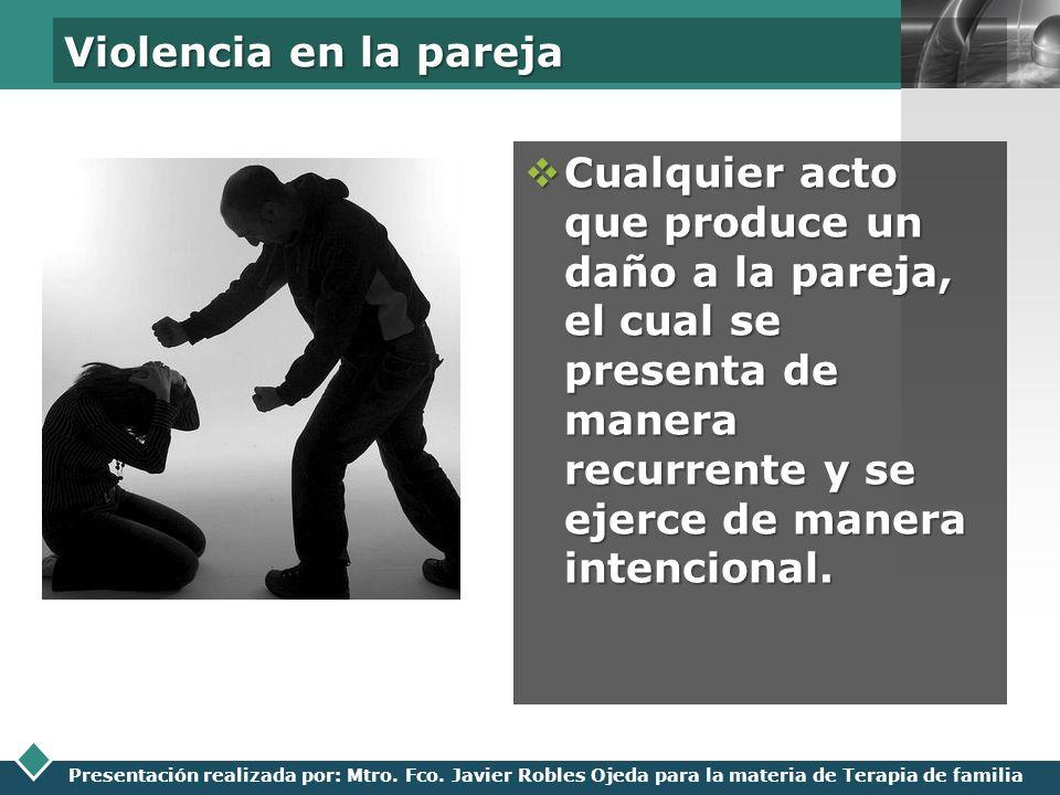 Violencia en la parejaCualquier acto que produce un daño a la pareja, el cual se presenta de manera recurrente y se ejerce de manera intencional.