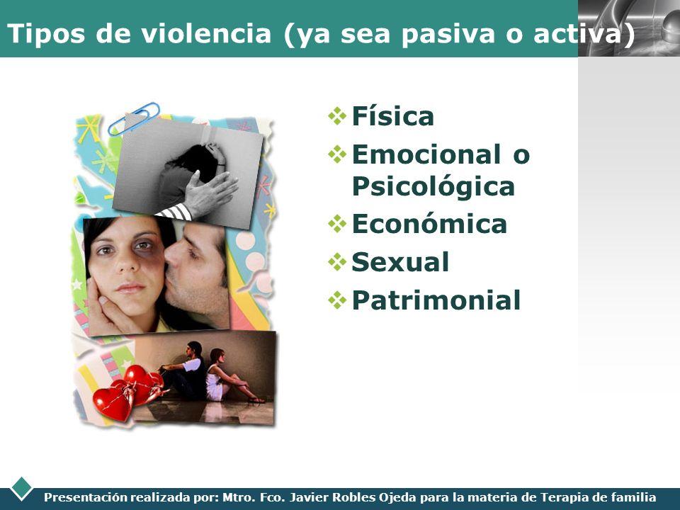 Tipos de violencia (ya sea pasiva o activa)