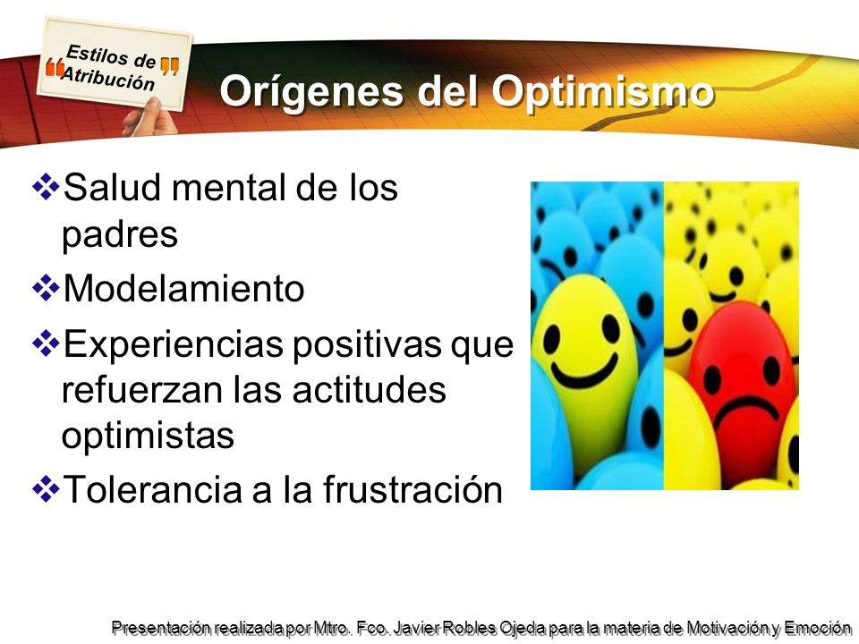 Orígenes del Optimismo