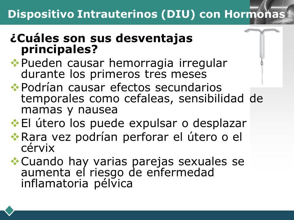 Dispositivo Intrauterinos (DIU) con Hormonas