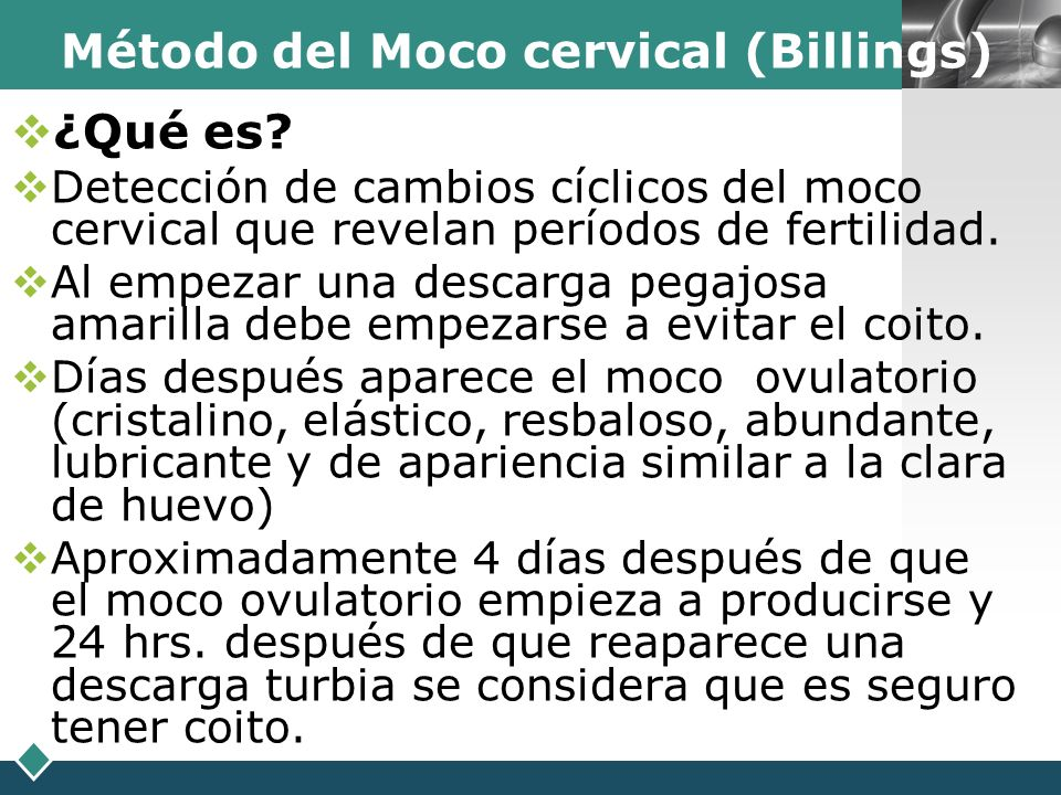 Método del Moco cervical (Billings)