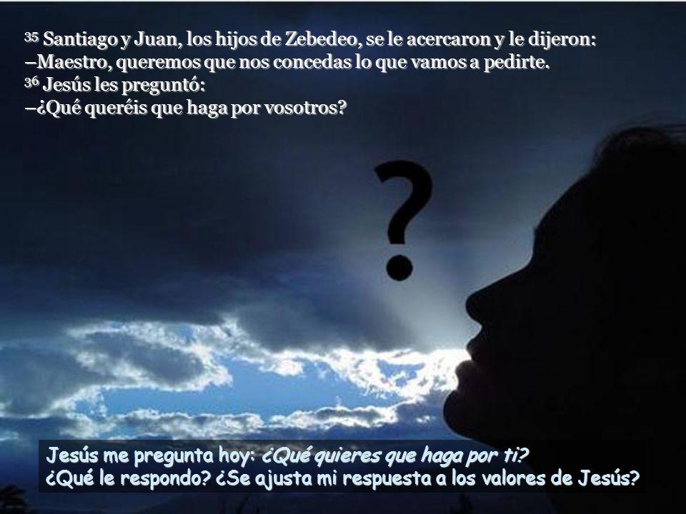 35 Santiago y Juan, los hijos de Zebedeo, se le acercaron y le dijeron: –Maestro, queremos que nos concedas lo que vamos a pedirte. 36 Jesús les preguntó: –¿Qué queréis que haga por vosotros