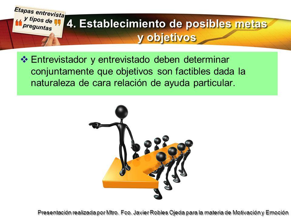 4. Establecimiento de posibles metas y objetivos