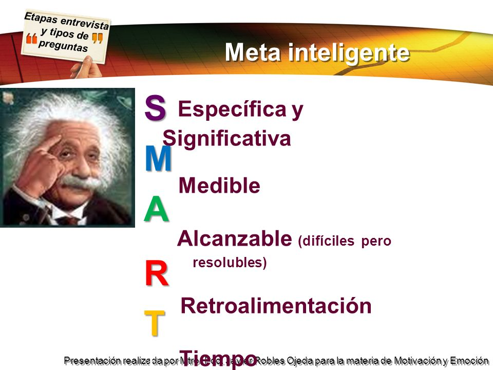 S Específica y Significativa M Medible