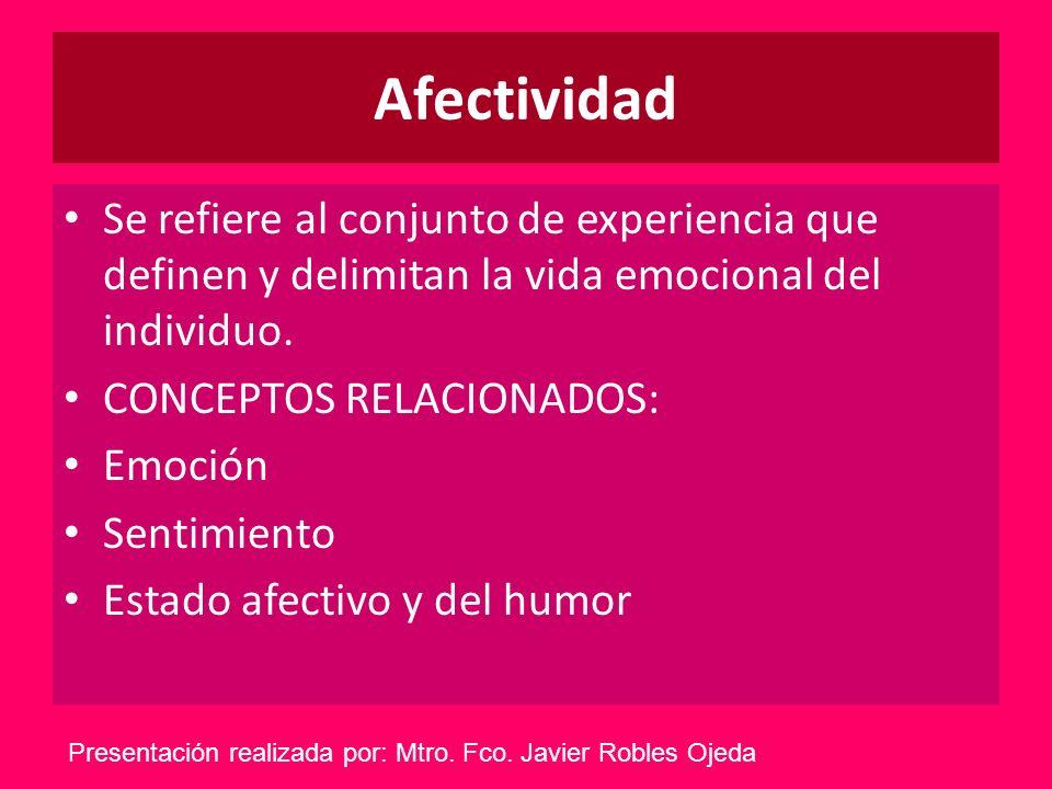 Afectividad Se refiere al conjunto de experiencia que definen y delimitan la vida emocional del individuo.