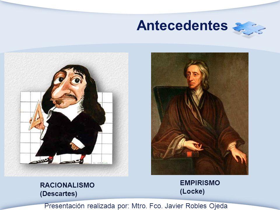 Antecedentes EMPIRISMO RACIONALISMO (Locke) (Descartes)
