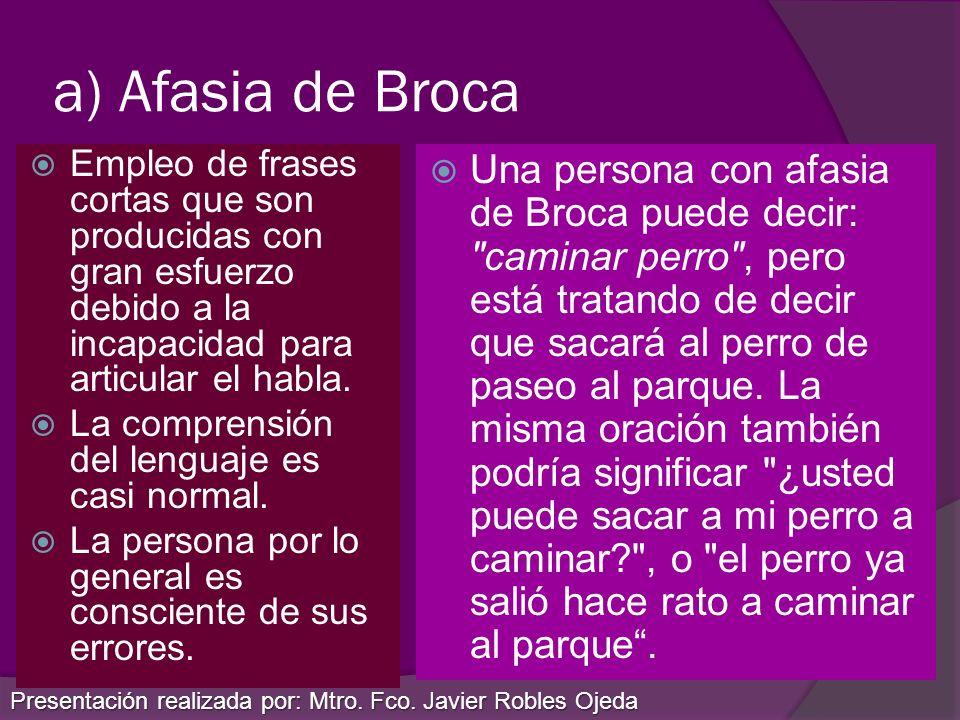 a) Afasia de BrocaEmpleo de frases cortas que son producidas con gran esfuerzo debido a la incapacidad para articular el habla.