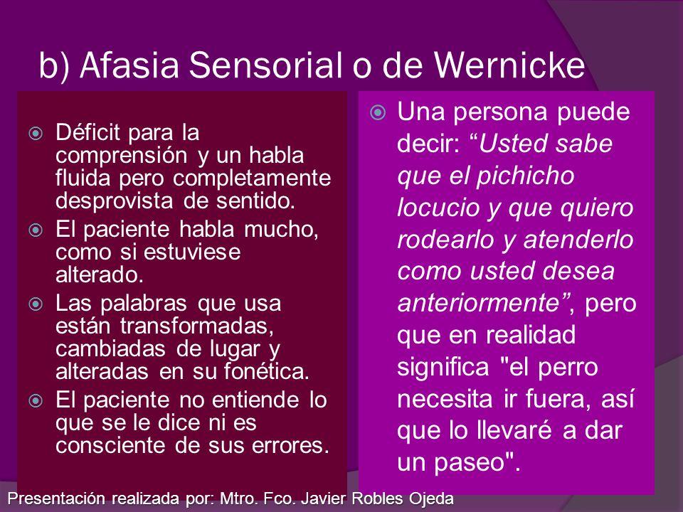 b) Afasia Sensorial o de Wernicke