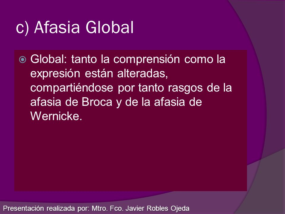 c) Afasia Global