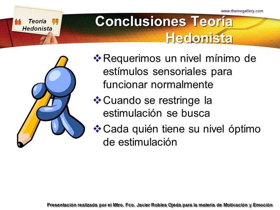 Conclusiones Teoría Hedonista