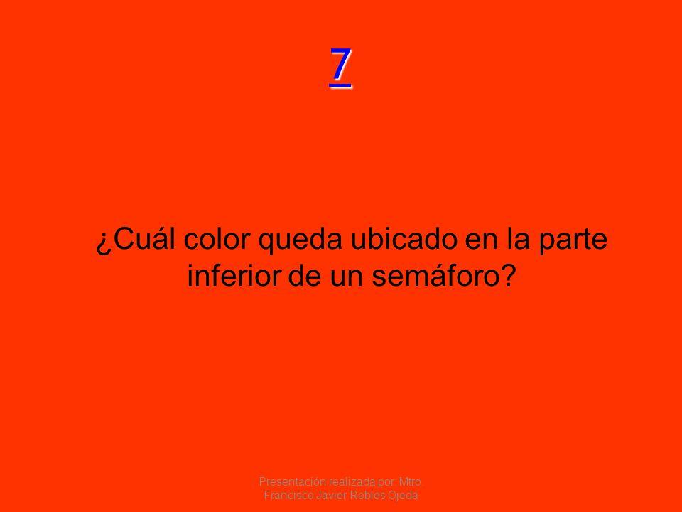 7 ¿Cuál color queda ubicado en la parte inferior de un semáforo