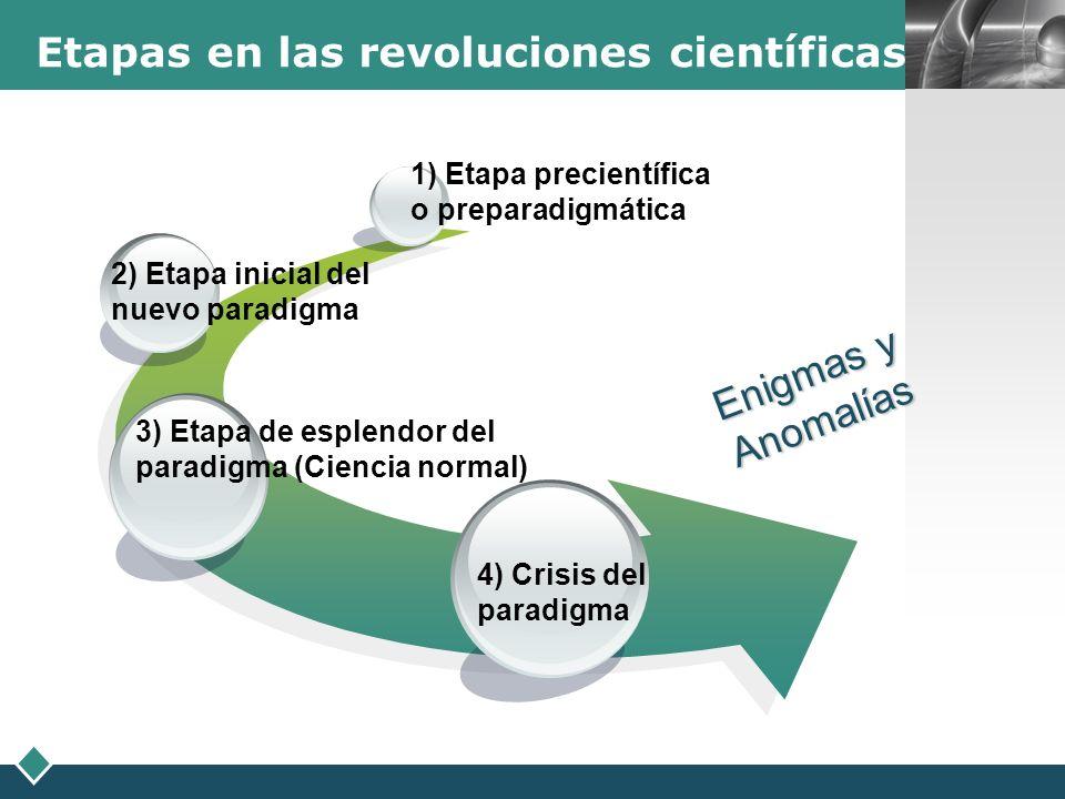 Etapas en las revoluciones científicas