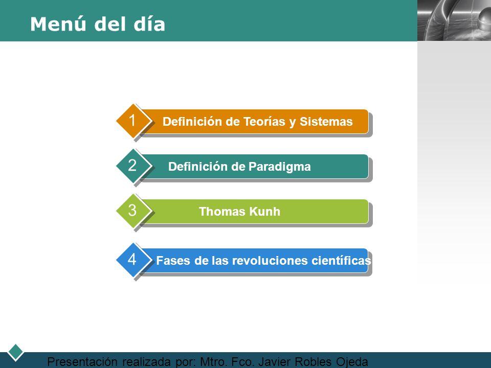 Menú del día 1 2 3 4 Definición de Teorías y Sistemas
