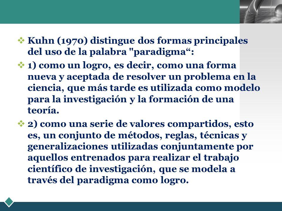 Kuhn (1970) distingue dos formas principales del uso de la palabra paradigma :