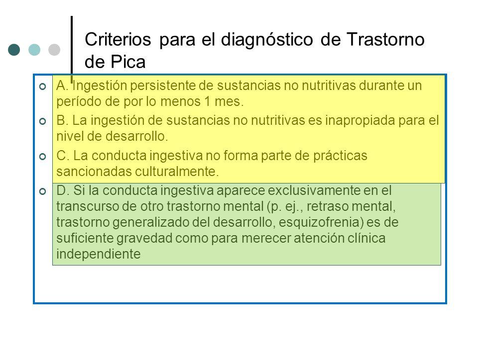 Criterios para el diagnóstico de Trastorno de Pica