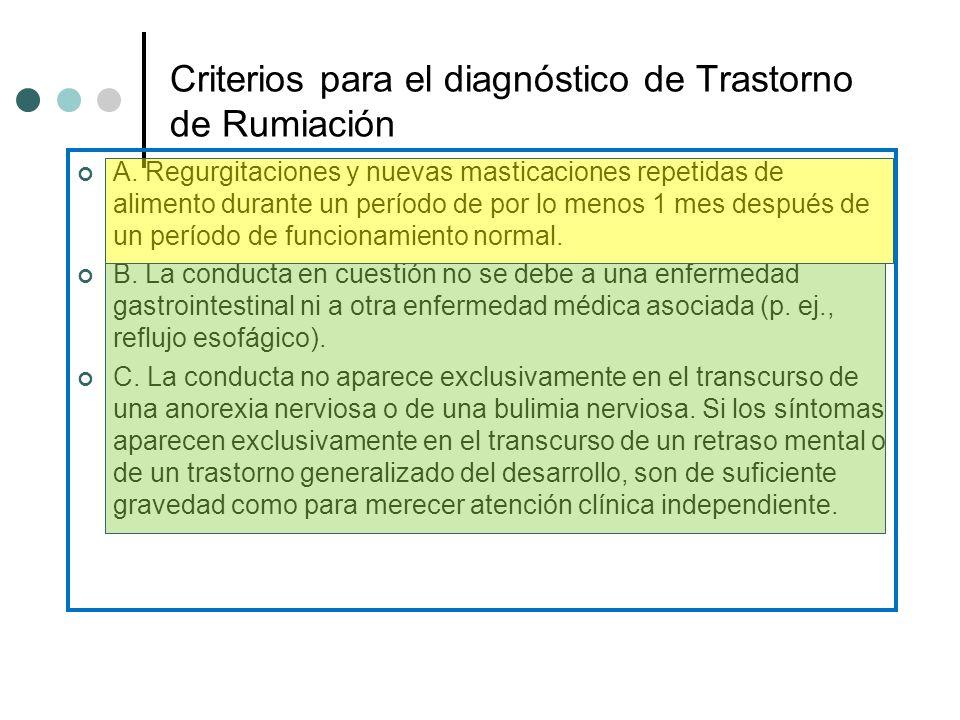 Criterios para el diagnóstico de Trastorno de Rumiación