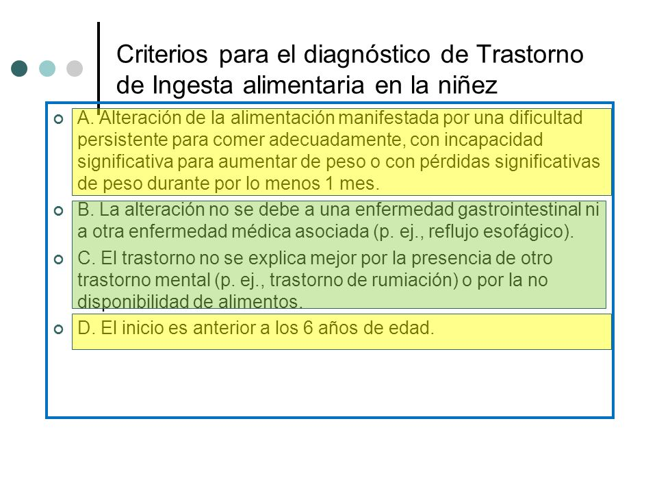 Criterios para el diagnóstico de Trastorno de Ingesta alimentaria en la niñez
