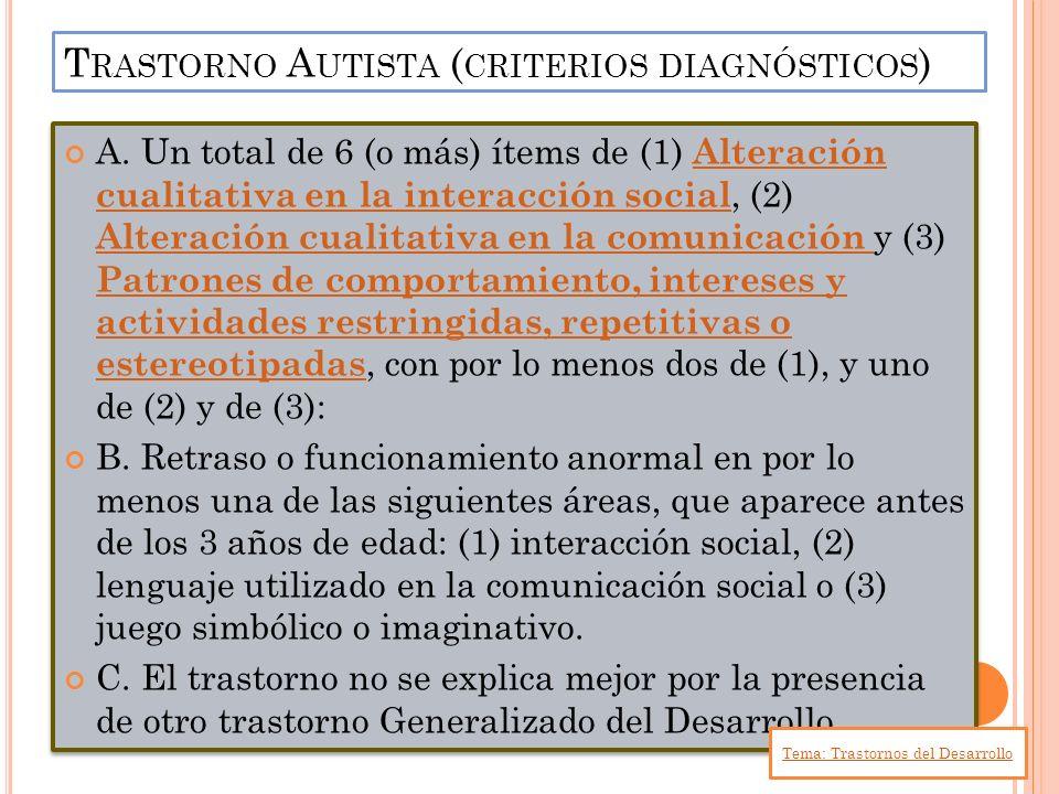 Trastorno Autista (criterios diagnósticos)