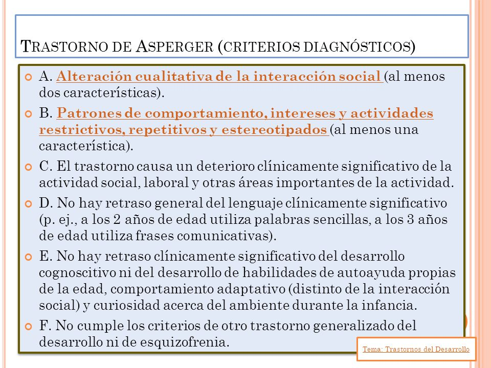 Trastorno de Asperger (criterios diagnósticos)