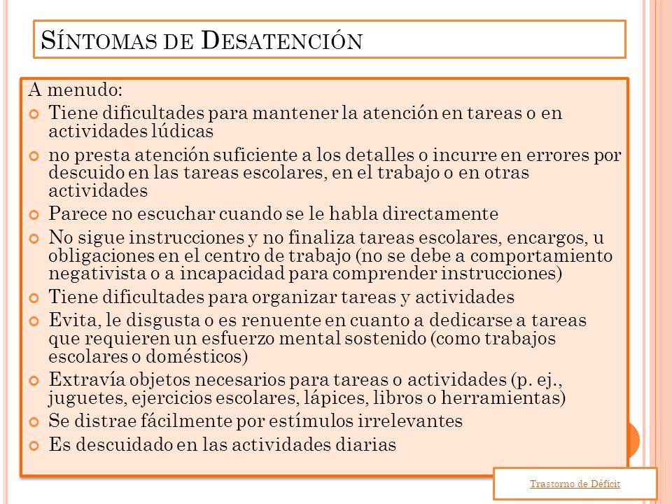 Síntomas de Desatención