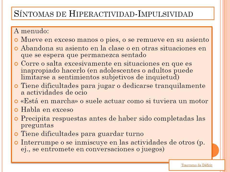 Síntomas de Hiperactividad-Impulsividad