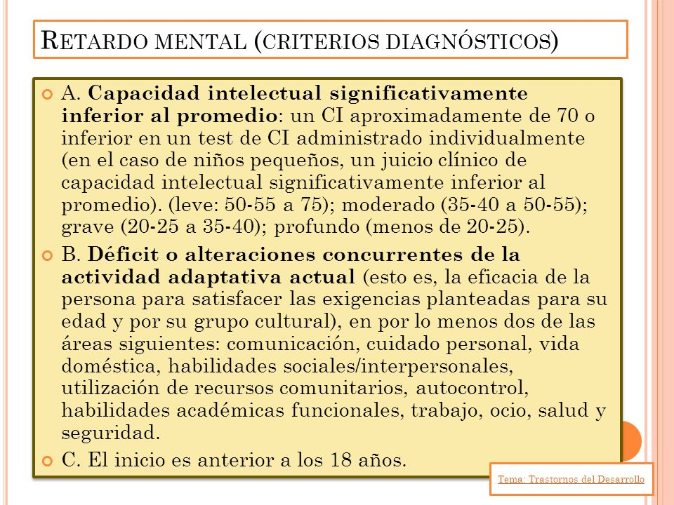 Retardo mental (criterios diagnósticos)