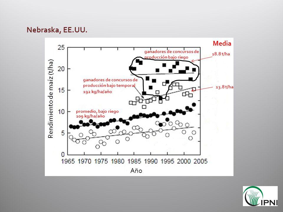 Nebraska, EE.UU. Media Rendimiento de maíz (t/ha) Año